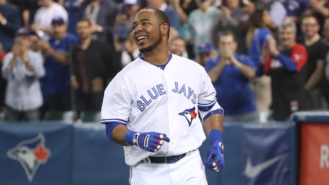 TORONTO, CANADA - JUNE 10: Edwin Encarnacion #10 of the Toronto Blue Jays celebrates after hitting a game-winning solo home run in the tenth inning during MLB game action against the Baltimore Orioles on June 10, 2016 at Rogers Centre in Toronto, Ontario, Canada. (Photo by Tom Szczerbowski/Getty Images)