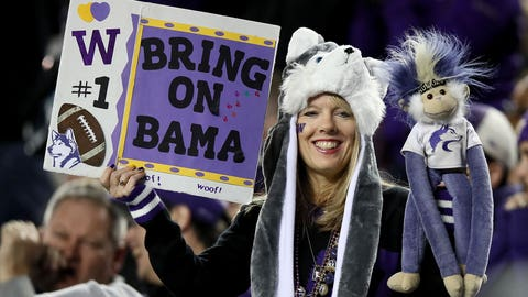 SANTA CLARA, CA - DECEMBER 02: A Washington Huskies fan holds up a sign during their victory over Colorado Buffaloes during the Pac-12 Championship game at Levi's Stadium on December 2, 2016 in Santa Clara, California. (Photo by Robert Reiners/Getty Images)