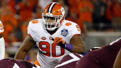 Dec 3, 2016; Orlando, FL, USA; Clemson Tigers defensive tackle Dexter Lawrence (90) during the first half of the ACC Championship college football game at Camping World Stadium. Mandatory Credit: Kim Klement-USA TODAY Sports