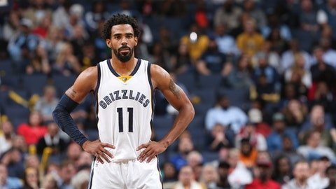 MEMPHIS, TN - NOVEMBER 8:  Mike Conley #11 of the Memphis Grizzlies looks on against the Denver Nuggets on November 8, 2016 at FedExForum in Memphis, Tennessee. NOTE TO USER: User expressly acknowledges and agrees that, by downloading and or using this photograph, User is consenting to the terms and conditions of the Getty Images License Agreement. Mandatory Copyright Notice: Copyright 2016 NBAE (Photo by Joe Murphy/NBAE via Getty Images)