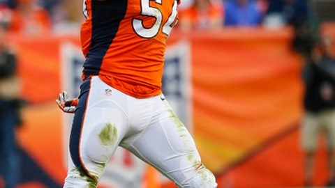 FILE - In this Nov. 15, 2015, file photo, Denver Broncos inside linebacker Brandon Marshall (54) celebrates a stop during an NFL football game against the Kansas City Chiefs, in Denver. Malik Jackson isn't the only one eager to face his former team when the Jaguars host the Broncos this weekend. Denver linebacker Brandon Marshall still holds a grudge against Jacksonville for cutting him early in his career. (AP Photo/Jack Dempsey, File)