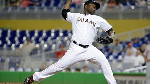 FILE - In this Sept. 6, 2016, file photo, Miami Marlins relief pitcher Fernando Rodney throws during a baseball game against the Philadelphia Phillies, in Miami. Closer Fernando Rodney and the Arizona Diamondbacks have agreed to a $2.75 million, one-year contract, according to a person familiar with the negotiations. The person spoke on condition of anonymity Wednesday, Dec. 7, 2016, because the agreement is subject to a physical. (AP Photo/Lynne Sladky, File)