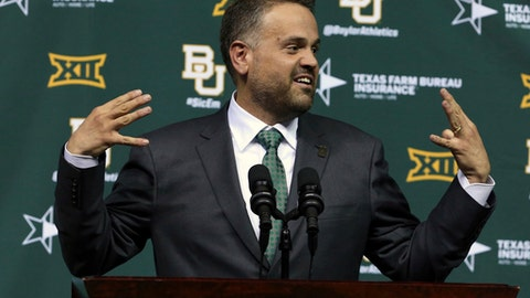 Matt Rhule speaks after being introduced as Baylor University's new football coach during a public event at the Ferrell Center, Wednesday, Dec. 7, 2016, in Waco, Texas. Rhule replaces Jim Grobe, who led the Bears to a 6-6 record as interim coach this season after Art Briles was fired May 26. (Rod Aydelotte/Waco Tribune Herald via AP)