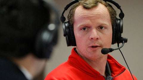 FILE - In this Feb. 4, 2015 photo, Houston's offensive coordinator Major Applewhite speaks during a webcast in Houston. Applewhite was hired to replace Tom Herman as coach at Houston on Friday, Dec. 9, 2016. ( Karen Warren/Houston Chronicle via AP)