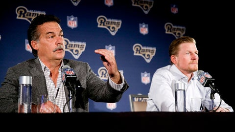 FILE - In this April 26, 2016, file photo, Los Angeles Rams general manager Les Snead, right, listens as head coach Jeff Fisher talks about their NFL football draft process during a news conference in Los Angeles. Fisher and Snead dismissed widespread speculation about the health of their partnership Friday, Dec. 9, 2016, claiming they work together closely and professionally. (AP Photo/Chris Carlson, File)