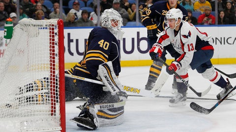 Washington Capitals forward Jakub Vrana (13) puts the puck past Buffalo Sabres goalie Robin Lehner (40) during the second period of an NHL hockey game, Friday, Dec. 9, 2016, in Buffalo, N.Y. (AP Photo/Jeffrey T. Barnes)