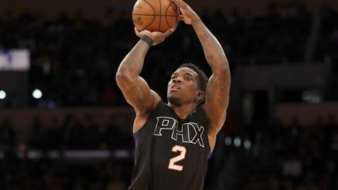 Phoenix Suns guard Eric Bledsoe shoots during the second half of an NBA basketball game against the Los Angeles Lakers, Friday, Dec. 9, 2016, in Los Angeles. The Suns won 119-115. (AP Photo/Ryan Kang)