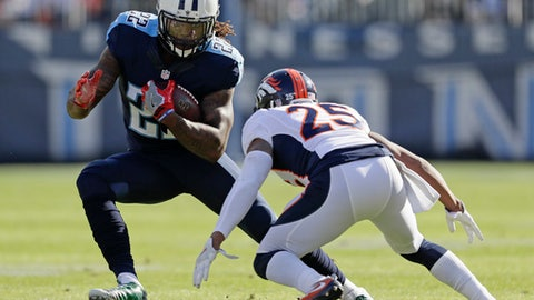 Tennessee Titans running back Derrick Henry (22) tries to get past Denver Broncos cornerback Chris Harris (25) in the first half of an NFL football game Sunday, Dec. 11, 2016, in Nashville, Tenn. (AP Photo/James Kenney)