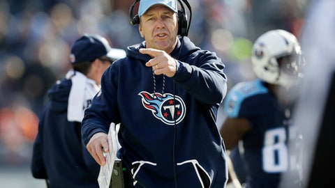 Tennessee Titans head coach Mike Mularkey argues a call in the first half of an NFL football game against the Denver Broncos Sunday, Dec. 11, 2016, in Nashville, Tenn. (AP Photo/James Kenney)