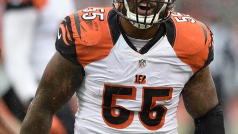 Cincinnati Bengals outside linebacker Vontaze Burfict (55) celebrates a tackle in the first half of an NFL football game against the Cleveland Browns, Sunday, Dec. 11, 2016, in Cleveland. (AP Photo/David Richard)