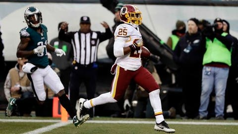 Washington Redskins' Chris Thompson (25) scores a touchdown past Philadelphia Eagles' Jalen Mills (31) during the second half of an NFL football game, Sunday, Dec. 11, 2016, in Philadelphia. (AP Photo/Michael Perez)