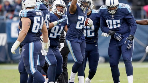 Tennessee Titans safety Daimion Stafford (24) celebrates after recovering a fumble by Denver Broncos tight end A.J. Derby to stop the Broncos' final drive in the fourth quarter of an NFL football game Sunday, Dec. 11, 2016, in Nashville, Tenn. The Titans won 13-10.(AP Photo/James Kenney)