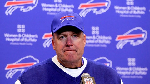 Buffalo Bills head coach Rex Ryan talks to reporters after an NFL football game against the Pittsburgh Steelers, Sunday, Dec. 11, 2016, in Orchard Park, N.Y. (AP Photo/Bill Wippert)