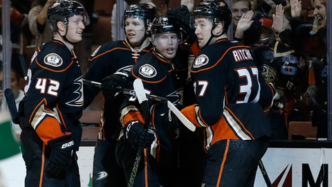 Anaheim Ducks defenseman Josh Manson, from left, defenseman Hampus Lindholm, second from left, of Sweden, and right wing Ondrej Kase, center, of the Czech Republic, congratulate left wing Nick Ritchie, right, for scoring against the Ottawa Senators during the second period of an NHL hockey game in Anaheim, Calif., Sunday, Dec. 11, 2016. (AP Photo/Alex Gallardo)