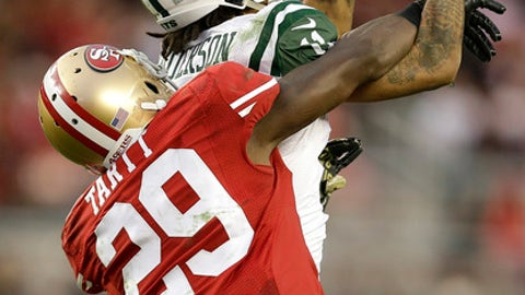 New York Jets wide receiver Robby Anderson, top, catches a pass over San Francisco 49ers strong safety Jaquiski Tartt (29) during overtime of an NFL football game in Santa Clara, Calif., Sunday, Dec. 11, 2016. The Jets won 23-17. (AP Photo/Ben Margot)
