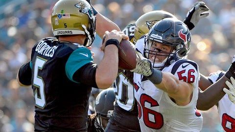FILE - In this Nov. 13, 2016, file photo, Houston Texans inside linebacker Brian Cushing (56) pressures Jacksonville Jaguars quarterback Blake Bortles (5) as he throws a pass during the second half of an NFL football game, in Jacksonville, Fla Cushing is a finalist for the Art Rooney Sportsmanship Award, the NFL announced Monday, Dec. 12, 2016. (AP Photo/Phelan M. Ebenhack, File)