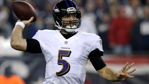 Baltimore Ravens quarterback Joe Flacco passes against the New England Patriots during the first half of an NFL football game, Monday, Dec. 12, 2016, in Foxborough, Mass. (AP Photo/Charles Krupa)
