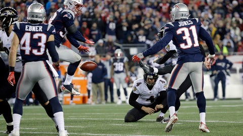 New England Patriots linebacker Shea McClellin (58) blocks a field goal attempt by Baltimore Ravens kicker Justin Tucker, partially hidden behind Patriots' Jonathan Jones (31), during the first half of an NFL football game, Monday, Dec. 12, 2016, in Foxborough, Mass. (AP Photo/Steven Senne)