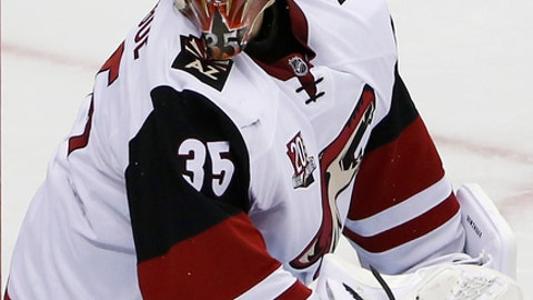 Arizona Coyotes goalie Louis Domingue (35) looks back for the rebound off the goal cage during the second period of an NHL hockey game against the Pittsburgh Penguins in Pittsburgh, Monday, Dec. 12, 2016. (AP Photo/Gene J. Puskar)