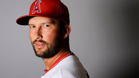FILE - This is a 2016 file photo showing Huston Street of the Los Angeles Angels baseball team. Street said Tuesday, Dec. 13, 2016, that he disagrees with Major League Baseball's ban on the hazing ritual of dressing up rookies in costumes that include women's outfits. (AP Photo/Chris Carlson, File)