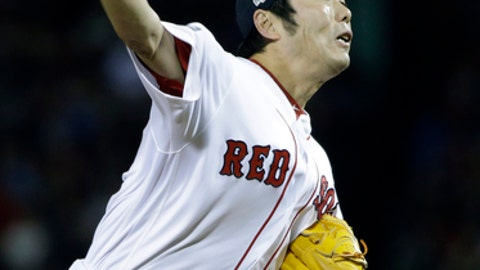 Boston Red Sox relief pitcher Koji Uehara delivers against the Cleveland Indians during the eighth inning in Game 3 of baseball's American League Division Series, Monday, Oct. 10, 2016, in Boston. (AP Photo/Elise Amendola)