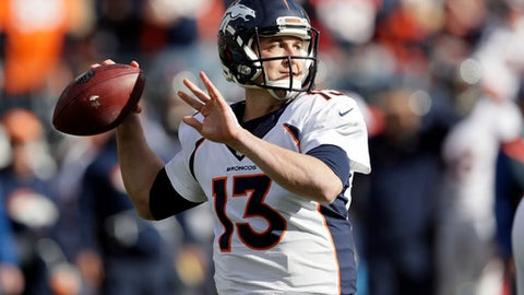 FILE - In this Dec. 11, 2016, file photo, Denver Broncos quarterback Trevor Siemian passes against the Tennessee Titans in the first half of an NFL football game, in Nashville, Tenn. Brady-Siemian. It doesn't have the same ring to it as Brady-Manning. Still, Siemian is providing the Broncos with better numbers than Peyton Manning or Brock Osweiler did last year when Denver swept Tom Brady and the New England Patriots on their way to winning Super Bowl 50. (AP Photo/James Kenney, File)
