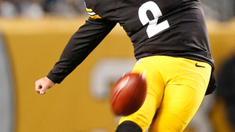 FILe - In this Dec. 4, 2016, file photo, Pittsburgh Steelers' Randy Bullock (2) kicks off during the first half of an NFL football game against the New York Giants in Pittsburgh. Bullock had just arrived home in Houston _ unemployed after the Steelers released him _ and was doing his laundry when one of Pittsburgh's biggest rivals called. The kicker tossed his clothes in the dryer and packed them again, this time for a trip to Cincinnati. And in his first game with a tiger-striped helmet, he'll be trying to take the Steelers down.(AP Photo/Jared Wickerham, File)