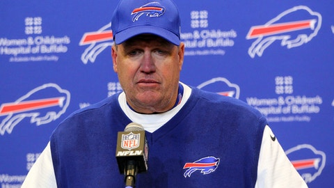 FILE - In this Dec. 11, 2016, file photo, Buffalo Bills head coach Rex Ryan talks to reporters after a 27-20 loss to the Pittsburgh Steelers in an NFL football game in Orchard Park, N.Y. Nobody wants to lose to the NFL's only winless squad. Three losses from a most imperfect season, the Browns will try to snap a losing streak stretching to last Dec. 13 on Sunday when they visit the Buffalo Bills, who have had their own struggles and whose coach, Rex Ryan, might be in a little trouble. (AP Photo/Bill Wippert, File)