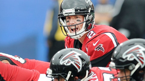 FILE - In this Dec. 11, 2016, file photo, Atlanta Falcons quarterback Matt Ryan (2) calls out from behind center during the first quarter of a game against the Los Angeles Rams, in Los Angeles. Four years after losing to San Francisco in the NFC championship game at the Georgia Dome, the Atlanta Falcons finally are moving closer to a return to the playoffs. The 49ers are far from the playoffs as they try to end a franchise-record 12-game losing streak in Sunday's game against the Falcons. (AP Photo/John Cordes, File)