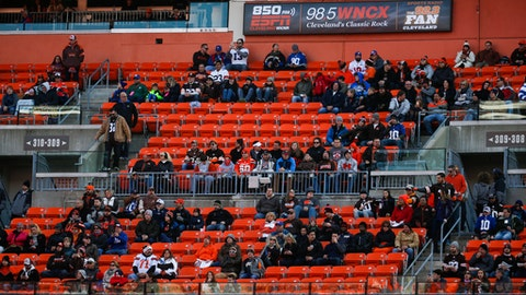 FILE - In this Nov. 27, 2016, file photo, empty seats remain in the stands in the first half of an NFL football game between the Cleveland Browns and the New York Giants, in Cleveland. While overall attendance in the NFL is up _ credit in great part the Rams' move from St. Louis to Los Angeles _ those empty seats you see in several stadiums are no mirage. (AP Photo/Ron Schwane, File)