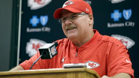 FILE - In this Oct. 23, 2016, file photo, Kansas City Chiefs head coach Andy Reid speaks during a news conference following an NFL football game against the New Orleans Saints, in Kansas City. Andy Reid has been around long enough to know that focusing on the playoffs with three games left in the regular season is foolish, a trap that can derail a team capable of much bigger things. He also knows something about human nature. The Chiefs play the Titans on Sunday. (AP Photo/Jeff Roberson, File)