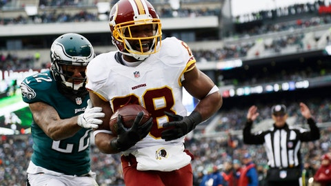 FILE - In this Dec. 11, 2016 file photo, Washington Redskins' Pierre Garcon, right, scores a touchdown past Philadelphia Eagles' Nolan Carroll during the second half of an NFL football game in Philadelphia. The veteran wide receiver Garcon hasn't missed a game in four seasons and is as sure a bet to catch the ball as he is to be in the lineup. Garcon has 64 catches without a drop this season, providing the consistency to go along with DeSean Jackson's speed and sizzle in Washington's passing attack. (AP Photo/Michael Perez, File)