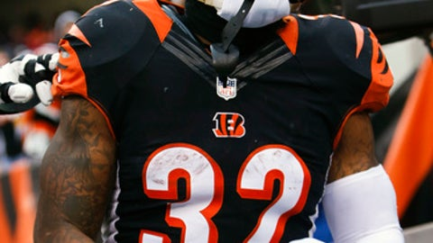 Cincinnati Bengals running back Jeremy Hill celebrates his touchdown in the first half of an NFL football game against the Pittsburgh Steelers, Sunday, Dec. 18, 2016, in Cincinnati. (AP Photo/Frank Victores)