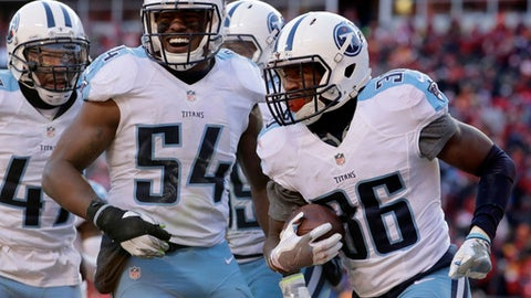Tennessee Titans linebacker Avery Williamson (54) and teammates celebrate after cornerback LeShaun Sims (36) intercepted a pass during the second half of an NFL football game against the Kansas City Chiefs in Kansas City, Mo., Sunday, Dec. 18, 2016. (AP Photo/Charlie Riedel)