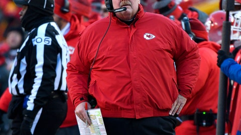 Kansas City Chiefs head coach Andy Reid follows the second half of an NFL football game against the Tennessee Titans in Kansas City, Mo., Sunday, Dec. 18, 2016. (AP Photo/Ed Zurga)