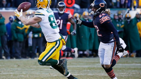 Green Bay Packers wide receiver Jordy Nelson (87) makes a reception against Chicago Bears cornerback Cre'von LeBlanc (22) during the second half of an NFL football game, Sunday, Dec. 18, 2016, in Chicago. The Packers won 30-27. (AP Photo/Nam Y. Huh)