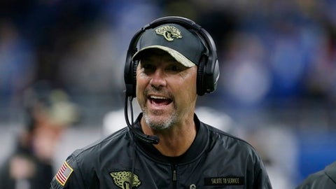 FILE - In this Nov. 20, 2016, file photo, Jacksonville Jaguars head coach Gus Bradley reacts in the bench area during the second half of an NFL football game against the Detroit Lions in Detroit. The Jaguars have fired Bradley, ending the least successful coaching tenure in NFL history. Owner Shad Khan announced the decision following a 21-20 loss at Houston on Sunday, Dec. 18, 2016. (AP Photo/Duane Burleson, File)