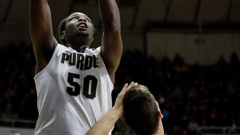 Purdue forward Caleb Swanigan (50) shoots over Western Illinois forward Mike Miklusak (30) in the second half of an NCAA college basketball game in West Lafayette, Ind., Monday, Dec. 19, 2016. Purdue defeated Western Illinois 82-50. (AP Photo/Michael Conroy)