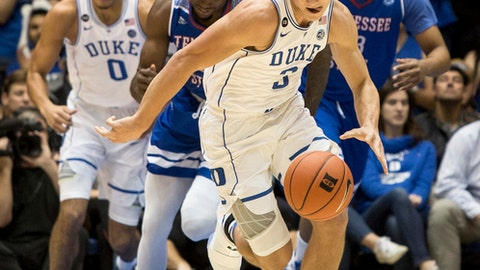 Duke's Grayson Allen (3) dribbles the ball up the court during the first half of an NCAA college basketball game against Tennessee State in Durham, N.C., Monday, Dec. 19, 2016. (AP Photo/Ben McKeown)