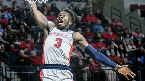 Mississippi guard Terence Davis (3) scores against Bradley during a college basketball game in Oxford, Miss., Monday, Dec. 19, 2016. (Bruce Newman/The Oxford Eagle via AP)