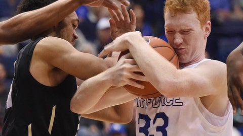 Colorado guard Derrick White, left, and Air Force center Frank Toohey fight for the ball during the first half of an NCAA college basketball game in Colorado Springs, Colo., Monday, Dec. 19, 2016. Colorado won 75-68. (Jerilee Bennett/The Gazette via AP)