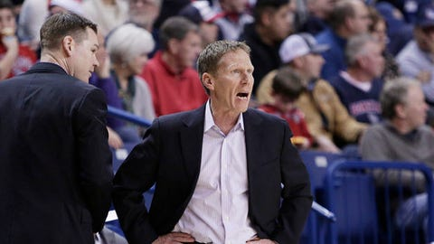 Gonzaga head coach Mark Few, right, directs his team as assistant coach Tommy Lloyd looks on during the first half of an NCAA college basketball game against South Dakota in Spokane, Wash., Wednesday, Dec. 21, 2016. (AP Photo/Young Kwak)