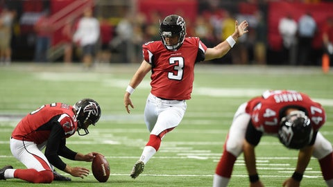 FILE - In this Oct. 30, 2016 file photo, Atlanta Falcons kicker Matt Bryant warms up before the first of an NFL football game between the Atlanta Falcons and the Green Bay Packers, in Atlanta. Bryant, in his 16th NFL season, is relishing his long-awaited first Pro Bowl honor as he prepares for Saturday's game on Dec. 24 at Carolina. (AP Photo/Rainier Ehrhardt, File)
