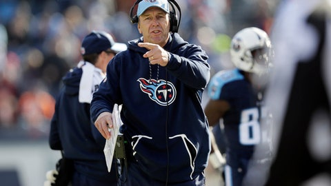 FILE - In this Sunday, Dec. 11, 2016 file photo, Tennessee Titans head coach Mike Mularkey watches from the sideline in the first half of an NFL football game against the Denver Broncos in Nashville, Tenn. This has not been the most watchable of NFL seasons, although the action and entertainment value has picked up in the second half of the schedule. What has emerged is the rise of four teams who are downright fun to watch: the Falcons, Titans, Redskins and Raiders. (AP Photo/James Kenney, File)