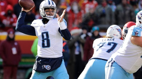 FILE - In this Sunday, Dec. 18, 2016 file photo, Tennessee Titans quarterback Marcus Mariota (8) throws during the first half of an NFL football game against the Kansas City Chiefs in Kansas City, Mo. The Tennessee Titans are on the verge of a record-tying turnaround and quite possibly the franchise's biggest game in years. All they have to do is beat reeling Jacksonville on Saturday, Dec. 24, 2016 to make them a reality. (AP Photo/Charlie Riedel, File)