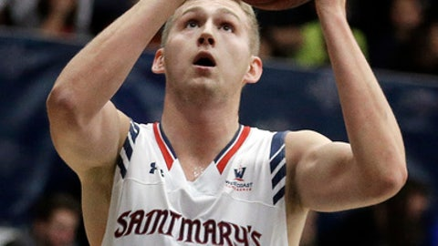 Saint Mary's Jock Landale shoots against South Carolina State during the first half of an NCAA college basketball game Thursday, Dec. 22, 2016, in Moraga, Calif. (AP Photo/Ben Margot)