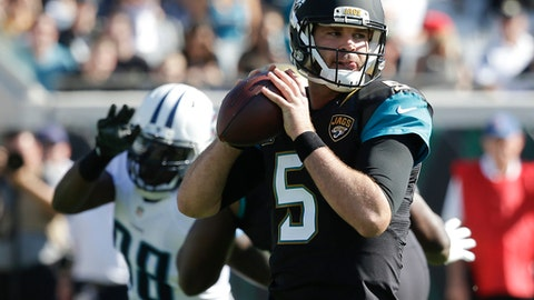 Jacksonville Jaguars quarterback Blake Bortles (5) looks for a receiver as he is pressured by Tennessee Titans outside linebacker Brian Orakpo (98) during the first half of an NFL football game, Saturday, Dec. 24, 2016, in Jacksonville, Fla. (AP Photo/John Raoux)