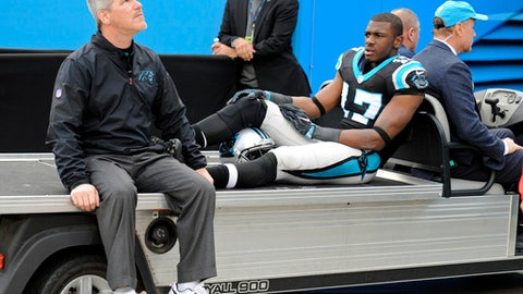 Carolina Panthers' Devin Funchess (17) is taken from the field on a cart after being injured in the second half of an NFL football game against the Atlanta Falcons in Charlotte, N.C., Saturday, Dec. 24, 2016. (AP Photo/Mike McCarn)