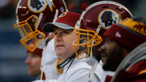 Washington Redskins head coach Jay Gruden watches during the second half of an NFL football game against the Chicago Bears, Saturday, Dec. 24, 2016, in Chicago. (AP Photo/Charles Rex Arbogast)