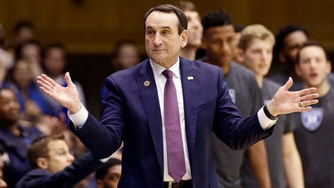 """FILE - In this Nov. 29, 2016, file photo, Duke coach Mike Krzyzewski reacts during the second half of the team's NCAA college basketball game against Michigan State in Durham, N.C. Krzyzewski said his team is """"more in October mode than December"""" after having several key freshmen out with early injuries. (AP Photo/Gerry Broome, File)"""